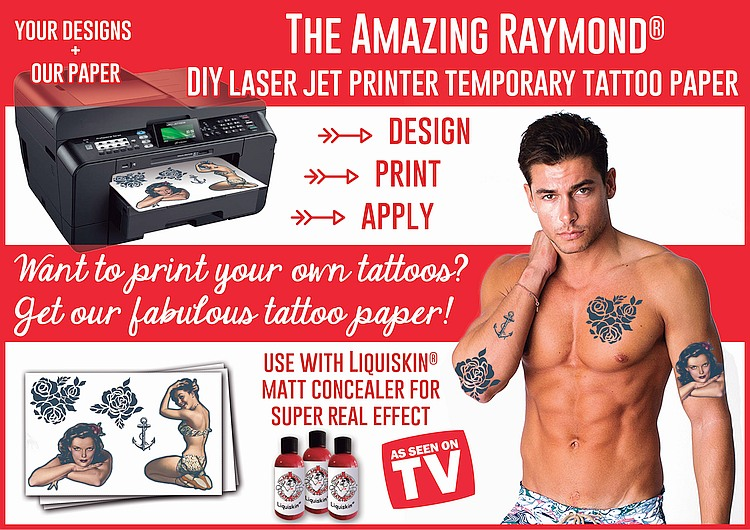 Laser Jet DIY Tattoo Paper Amazing Raymond Temporary Tattoos