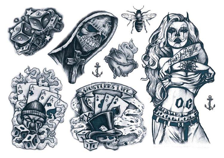 f28c792d00f01 Temporary Tattoos Gangsta Style