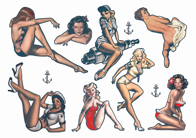 Pin Up Temporary Tattoos