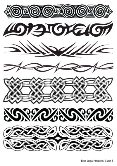 Extra Large Armband Temporary Tattoos